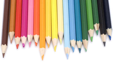 colored pencils with shadow isolated on white  photo