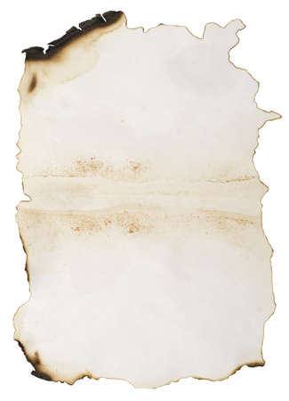 vieux papier brûlé isolé sur blanc Banque d'images - 3083332