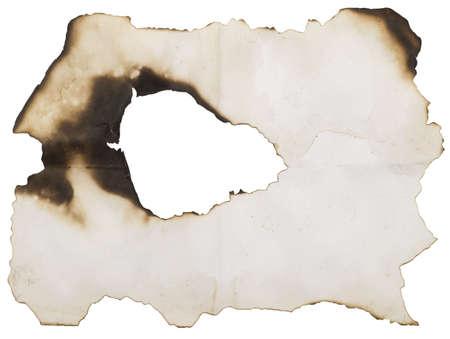 verbrand gat geïsoleerd op wit