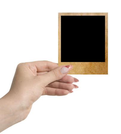 foto in een hand geïsoleerd op wit