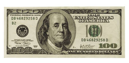 one hundred dollars: one hundred dollar isolated on white