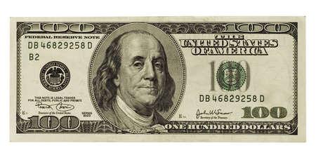 one hundred: one hundred dollar isolated on white