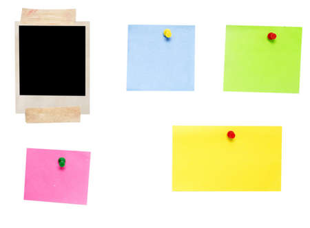 empty notes and photo frame isolated on white photo