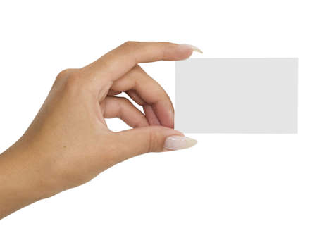 card in a hand isolated on white Stock Photo - 3280934