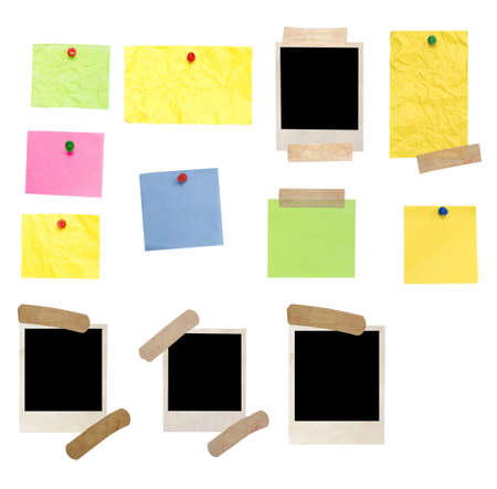 Photo Frame en lege noten geïsoleerd op wit Stockfoto
