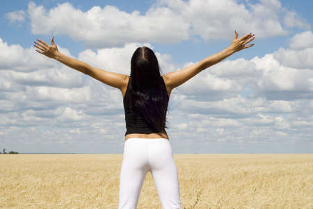 a young woman relaxing over sky background Stock Photo - 3386353