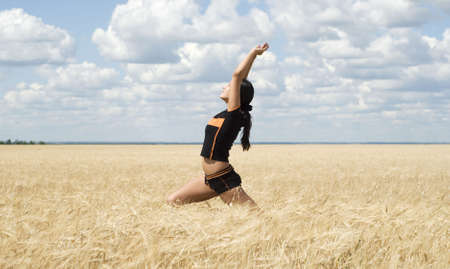 beautiful young woman training in the nature Stock Photo - 3386363
