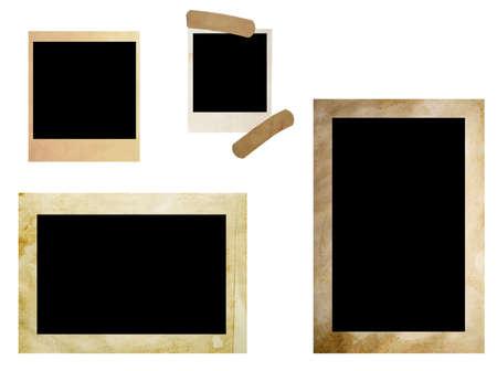 grunge photo frames isolated on white photo