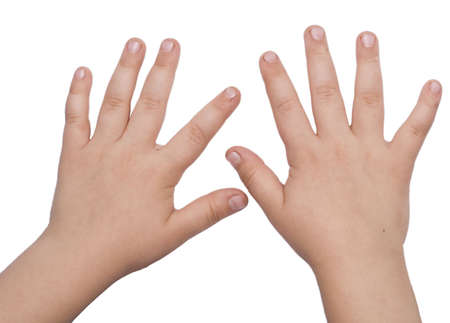 child hands isolated on white Stock Photo - 3408232