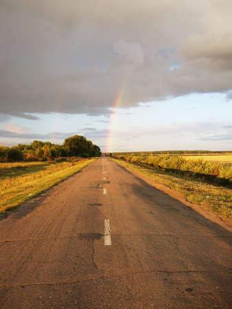 regenboog op de bewolkte hemel Stockfoto