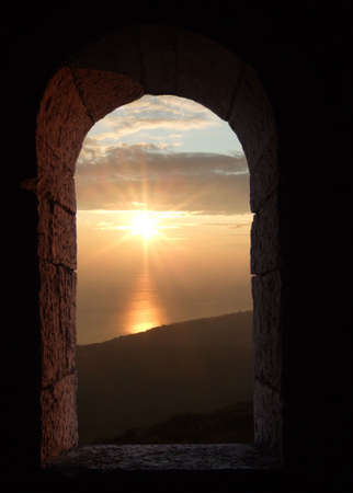 looking through an ancient window with sky Stock Photo - 3689807