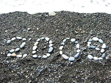 2009 from pebbles on a beach photo