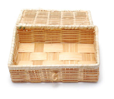 wooden woven box isolated on white Stock Photo - 3727437
