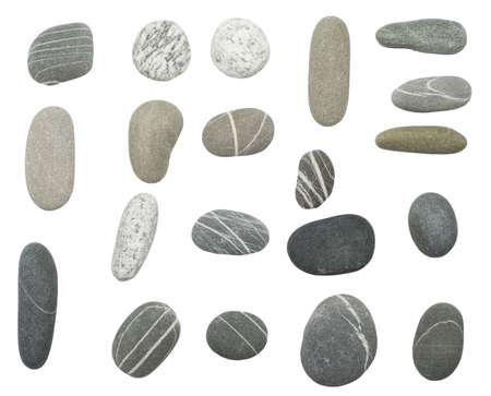 pebbles stones on white background photo