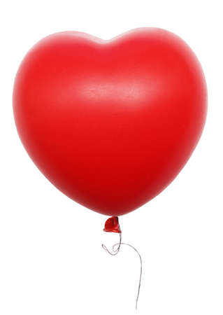 red heart balloon isolated on white photo