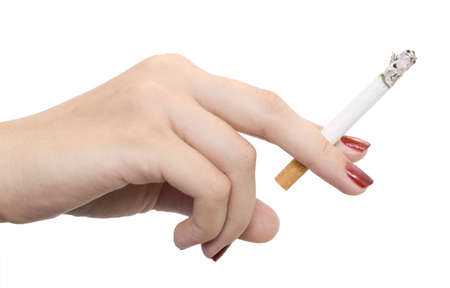 female hand with cigarette isolated on white photo