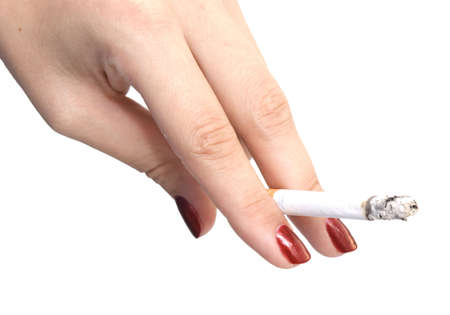 woman hand with cigarette isolated on white photo