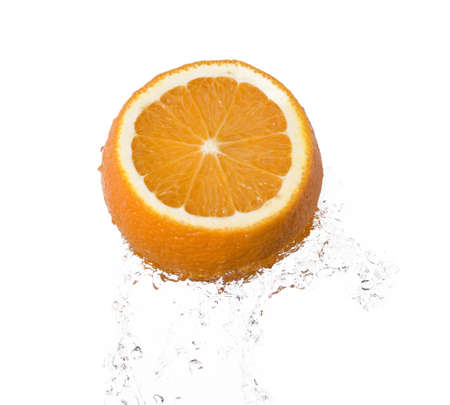 orange in water splash over white background Stock Photo - 3954919