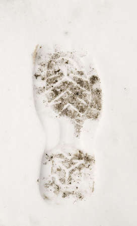 adult footprint: a footprint on a snow Stock Photo