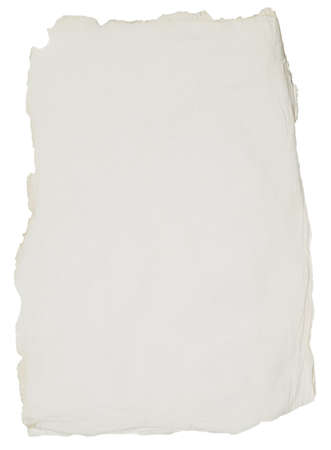 old rough paper with torn edges over white background Stock Photo