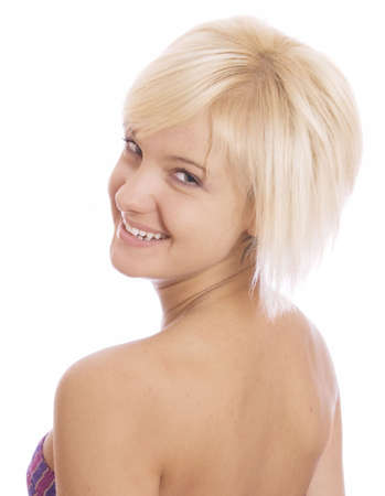 the blonde beautiful woman over white photo