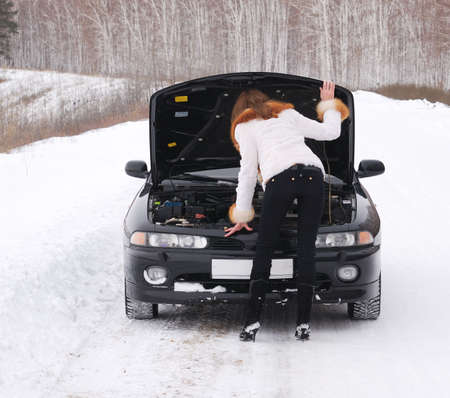 young woman with her broken car Stock Photo - 4319299