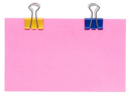 posting: paper note and clips on a white background