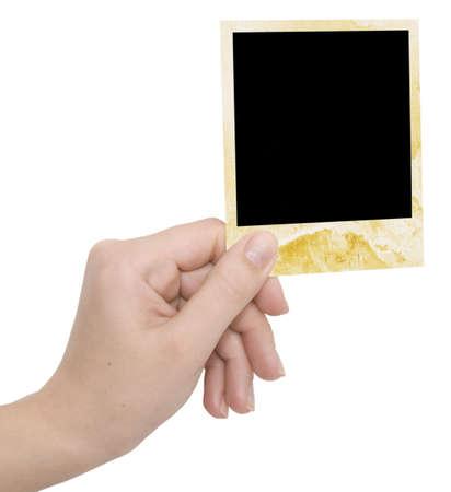 Photo Frame in einer Hand auf einem weißen Hintergrund