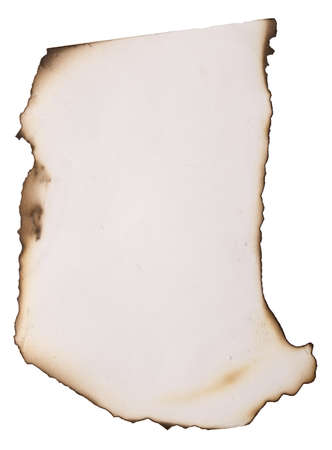 old paper with burnt edges over white photo