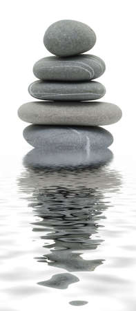 therapists: pebble tower reflected in water Stock Photo