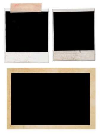 confines: polaroids and photo frame on a white