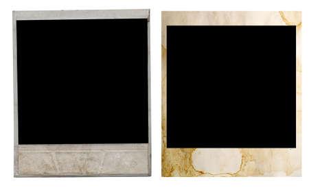 white polaroids: polaroid frames on white background Stock Photo