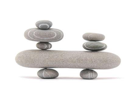 balanceren stenen geïsoleerd op een witte achtergrond Stockfoto