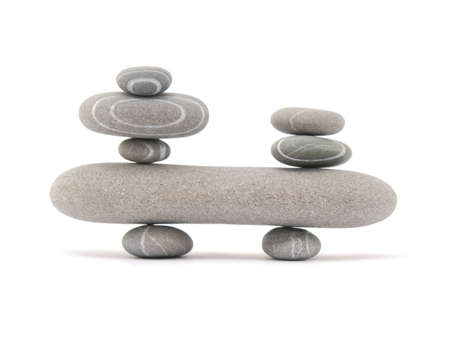 balancing stones isolated on a white background Stock Photo