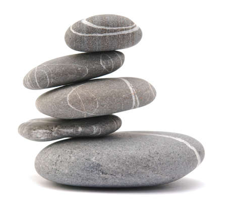 pebble tower on a white background Stock Photo - 4847128