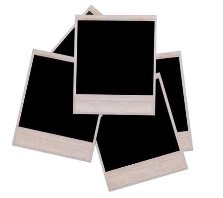 white polaroids: photos isolated on a white background Stock Photo