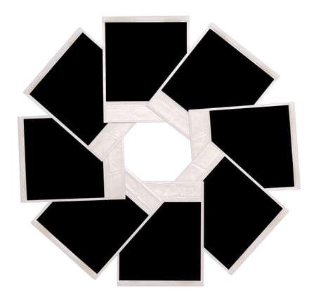 white polaroids: photo isolated on a white background Stock Photo
