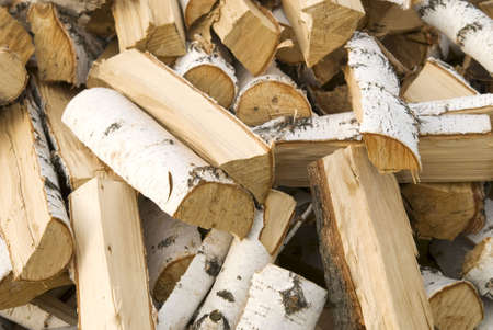 paal van een berk brandhout Stockfoto