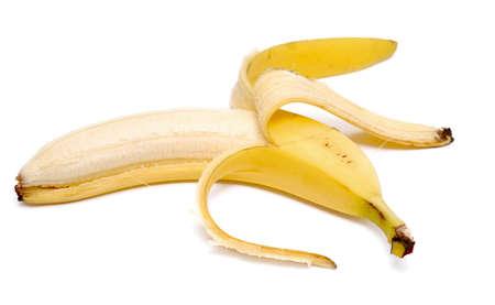 gepelde banaan geïsoleerd op wit Stockfoto