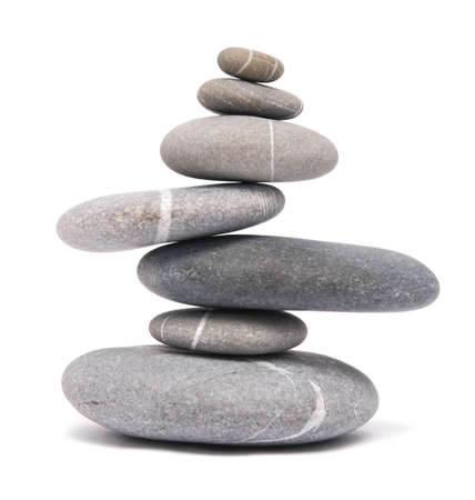 smooth stones: balancing stones isolated on white