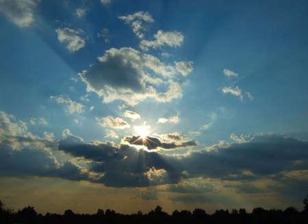 sun beams in the sky Stock Photo - 5088415
