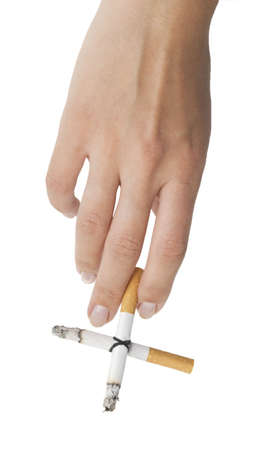 hand with cigarette cross isolated on whtie Stock Photo - 5565319