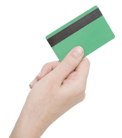 hand met creditcard op wit wordt geïsoleerd