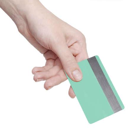 hand business card: mano di carte di credito isolata on white