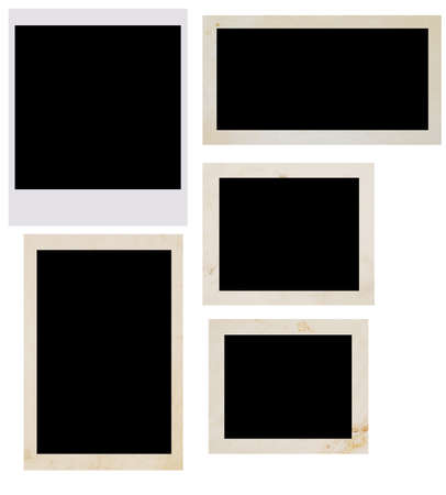white polaroids: photo frames isolated on white Stock Photo