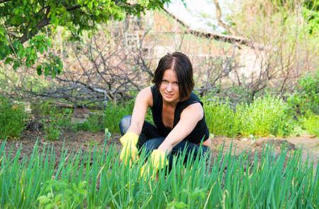 beautiful young  woman working in the garden photo