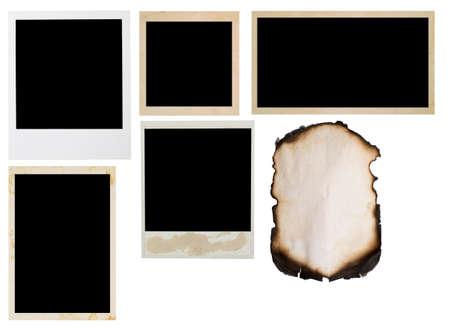 quemado: marcos de fotos aislados en blanco