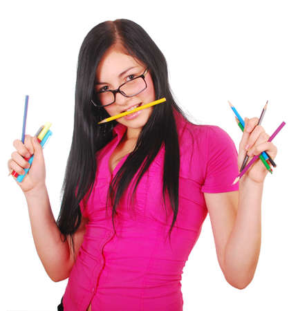 pretty student with colorful pencils isolated on white Stock Photo - 7858333