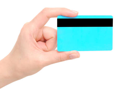 hand holding credit card isolated on white Stock Photo - 8571822