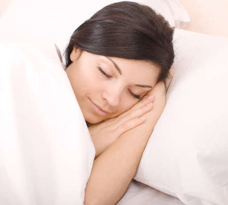 close up shot of beautiful sleeping woman Stock Photo
